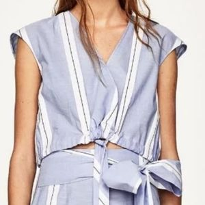 Zara Basic Striped Faux Wrap Drawstring Crop Top